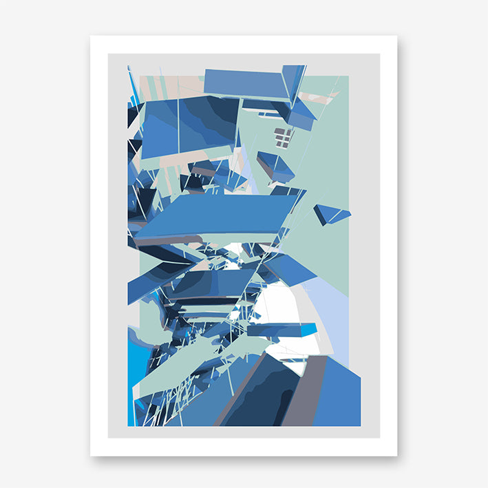 Digital geometric art print by Henry Hu with grey, mint and blue shapes.