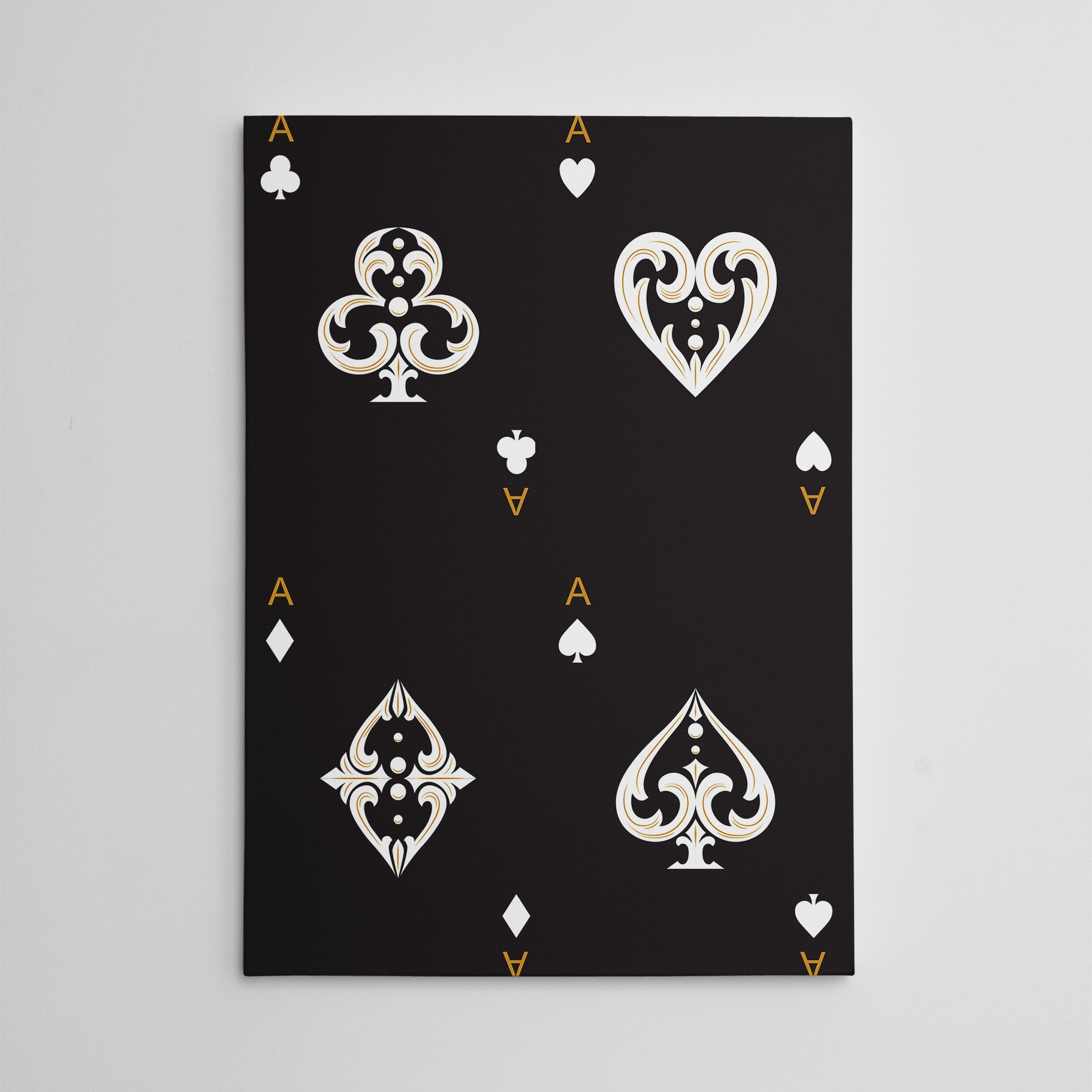 Canvas print with all ace cards, on black background.