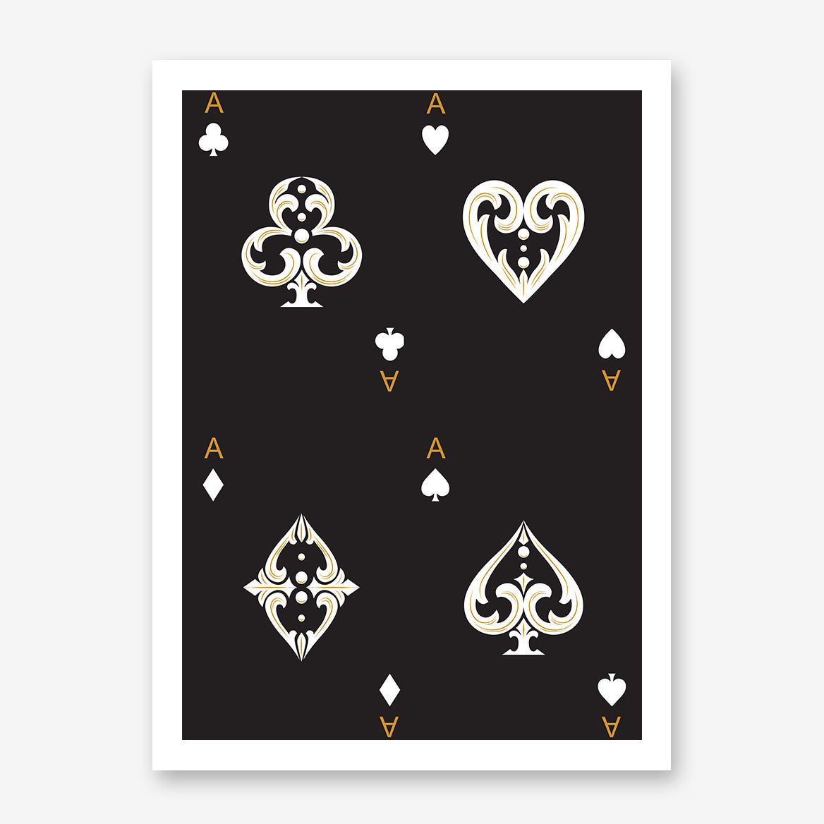 Poster print with all ace cards, on black background.