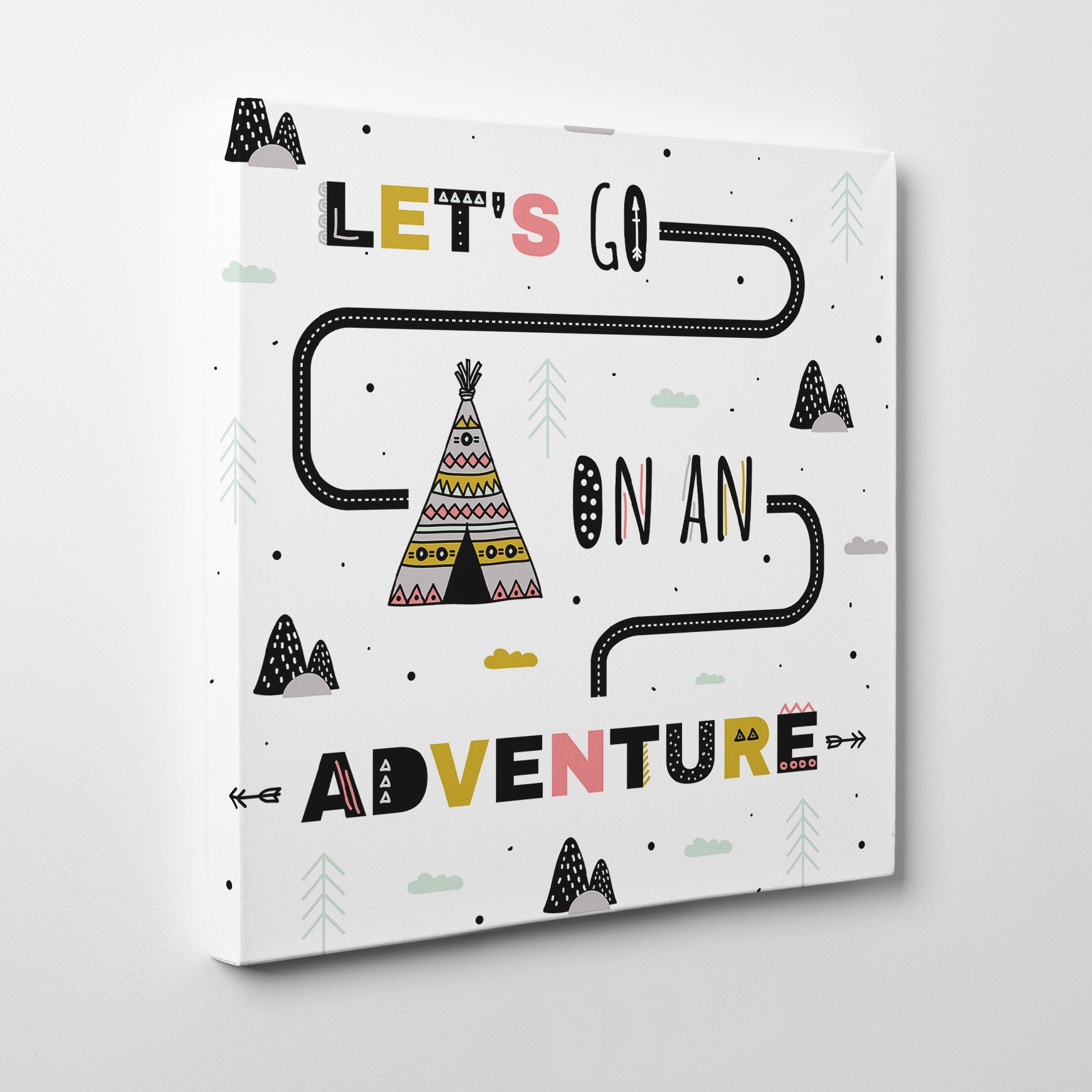 "Kids square canvas print with a tent and text ""Let's go on an adventure"", on a white background - side view"