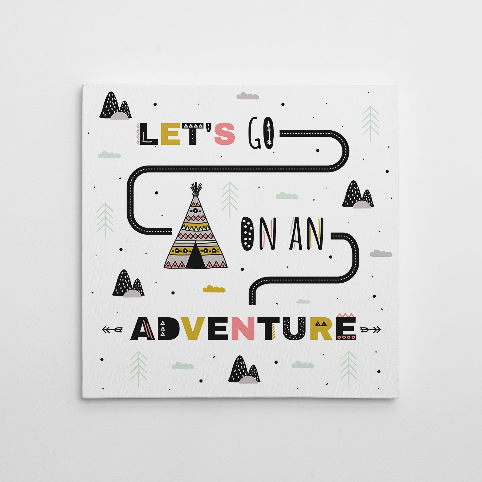 "Kids square canvas print with a tent and text ""Let's go on an adventure"", on a white background"
