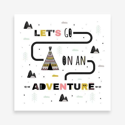 "Kids square print with a tent and text ""Let's go on an adventure"", on a white background."