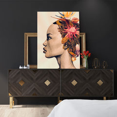 Fashion poster print of an original painted art, with a woman's portrait with colourful flowers on her head, in the bedroom