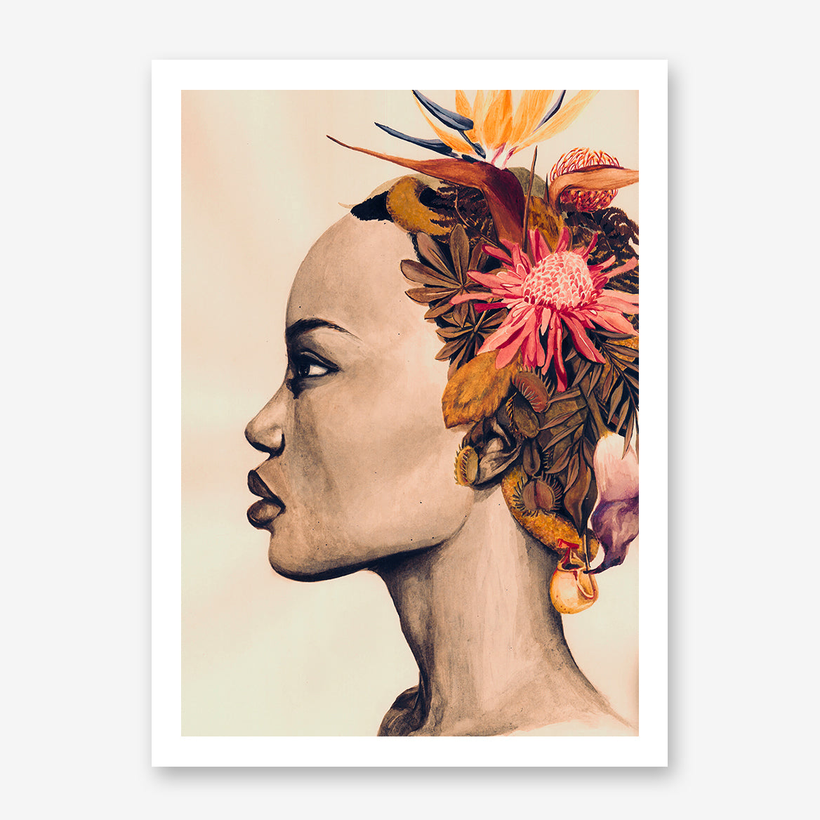 Fashion poster print of an original painted art, with a woman's portrait with colourful flowers on her head