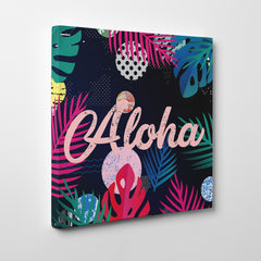 "Illustration canvas print with colourful leaves and pink word ""Aloha"" - side view"