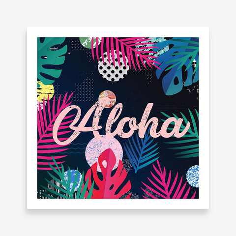 "Illustration poster print with colourful leaves and pink word ""Aloha""."