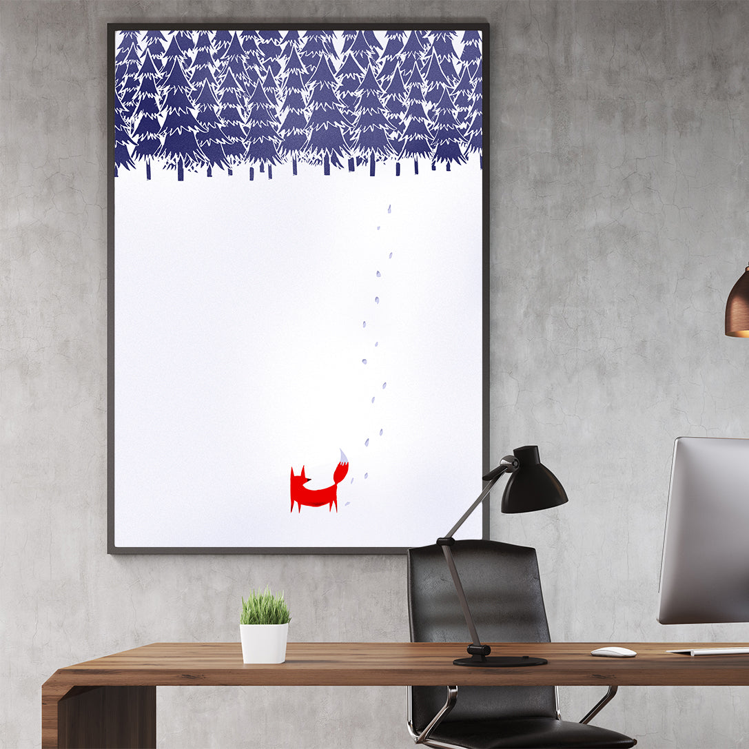 Illustration print with a fox walking in a snowy forest, in office.