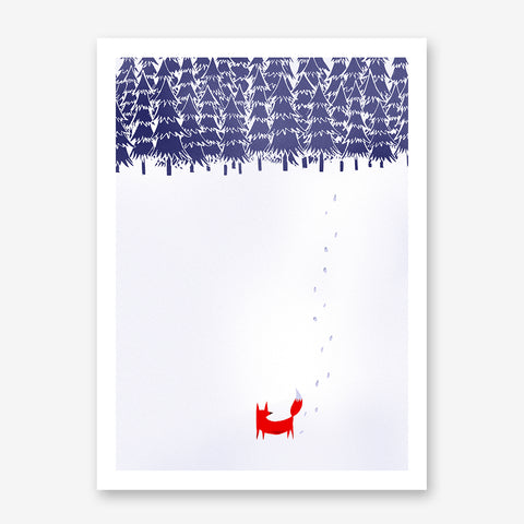 Illustration print with a fox walking in a snowy forest.