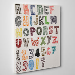 Educational canvas print with patterned letters and numbers - side view