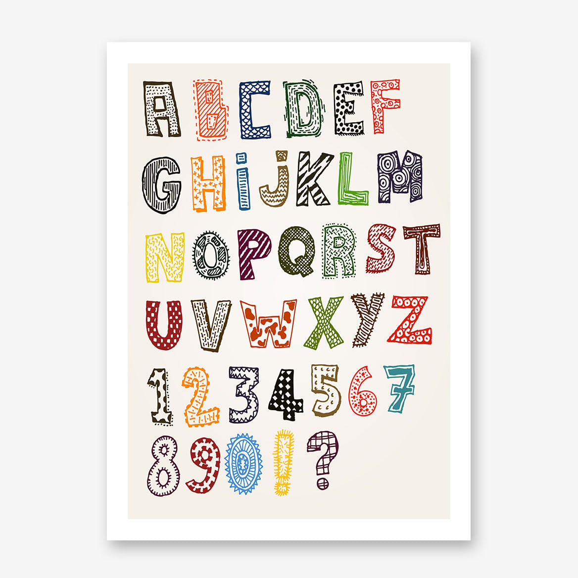 Educational poster print with patterned letters and numbers.