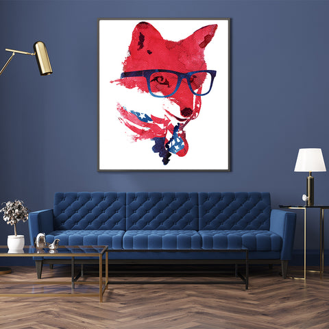 Illustration print with a fox wearing glasses and an American flag bandana, in living room