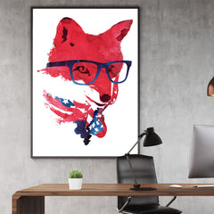 Illustration print with a fox wearing glasses and an American flag bandana, in office