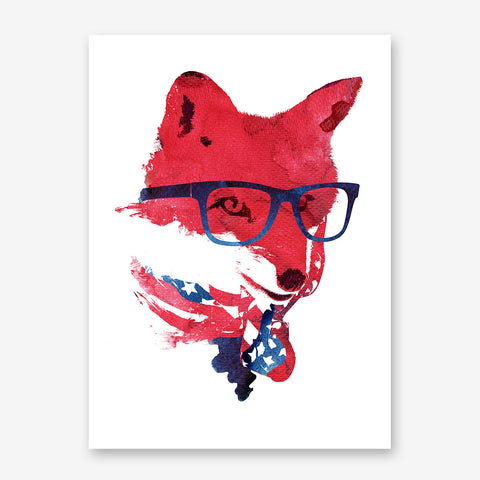 Illustration print with a fox wearing glasses and an American flag bandana.