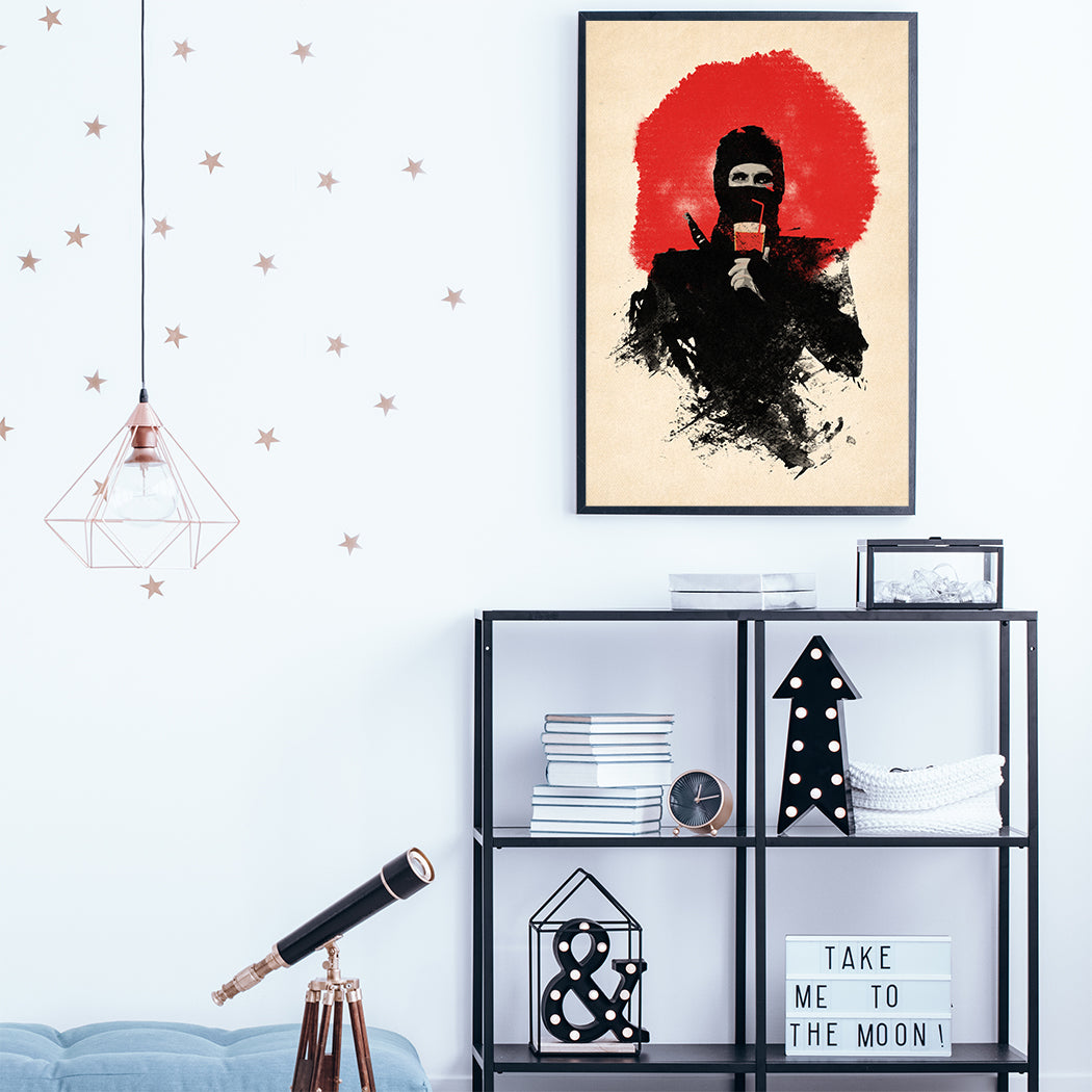 Movie inspired poster print with abstract ninja, on beige and red textured background, in teens room