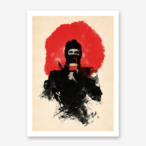 Movie inspired poster print with abstract ninja, on beige and red textured background