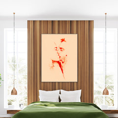 Abstract poster print by Sophia Novosel with passionately kissing couple, on light orange background, bedroom view