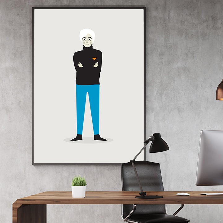Celebrity illustration print with Andy Warhol stylishly drawn by Judy Kaufmann to bring out the essence of his style and character, in office