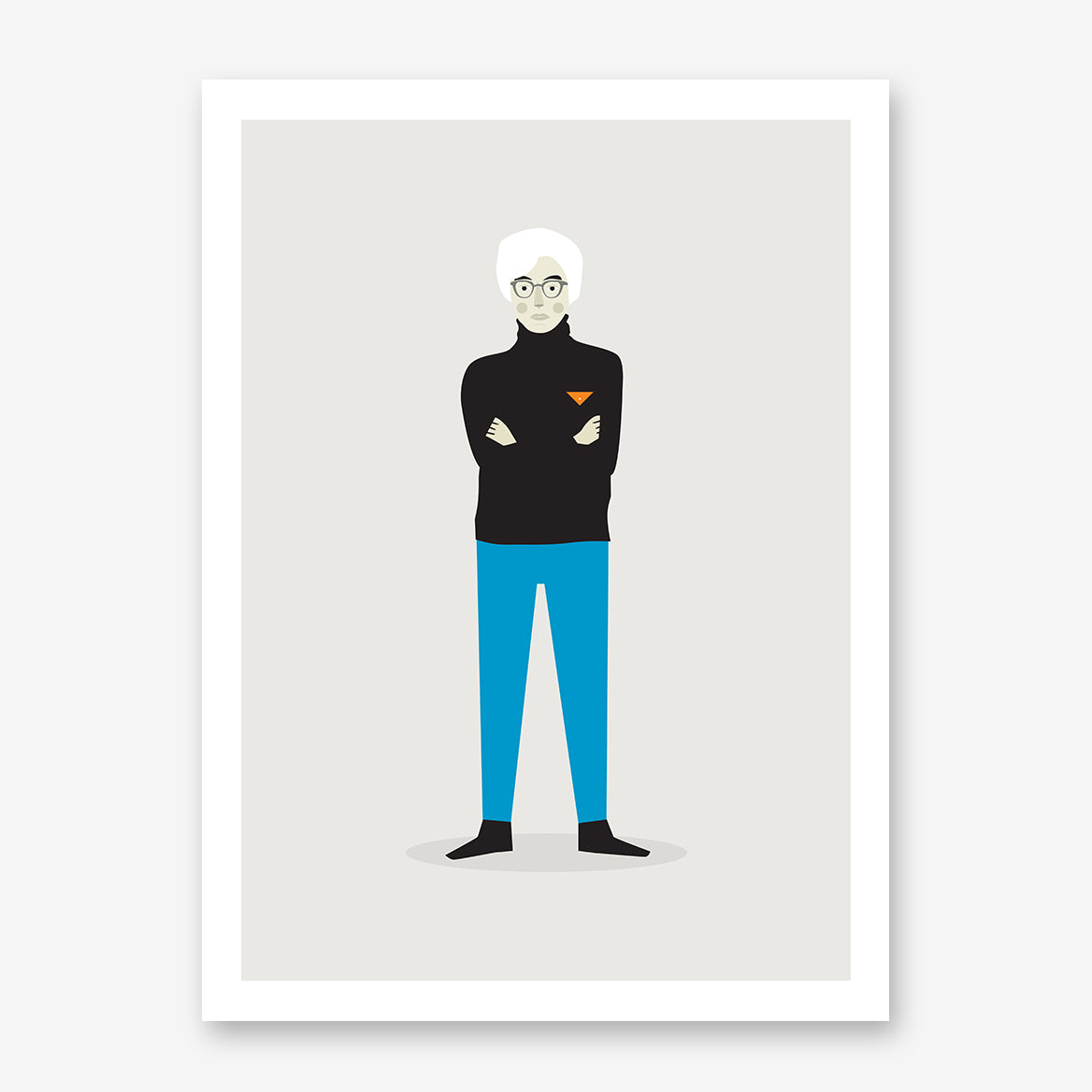 Celebrity illustration print with Andy Warhol stylishly drawn by Judy Kaufmann to bring out the essence of his style and character.