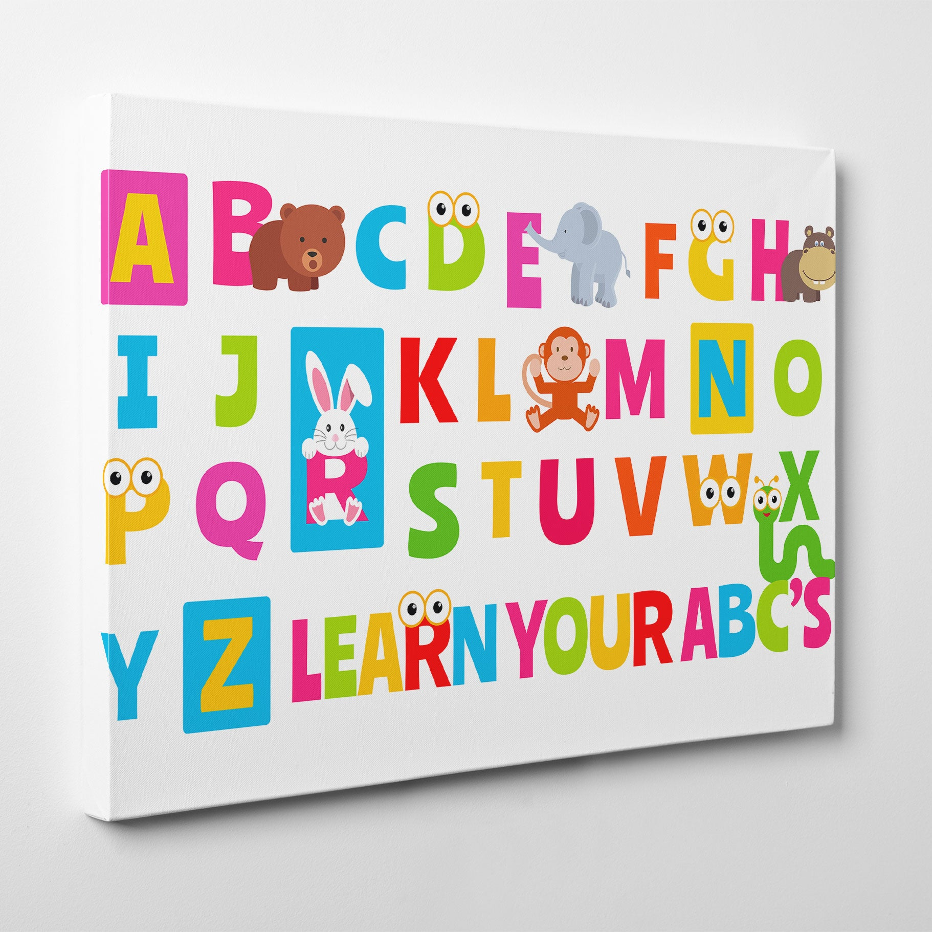 Canvas print with colourful alphabet letters and animals, on white background- side view