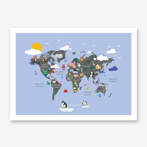 Light blue kids` world map poster print with colourful animals