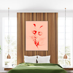 Romantic poster print by Sophia Novosel, with kissing couple, on light pink background, bedroom view