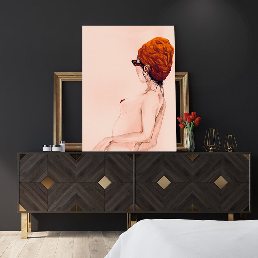 Nude woman poster print with brown glasses and head wrap, bedroom view