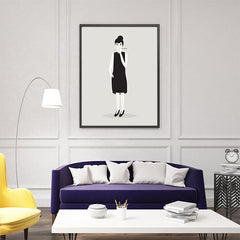 Celebrity illustration print with Audrey Hepburn stylishly drawn by Judy Kaufmann to bring out the essence of her style and character, in living room