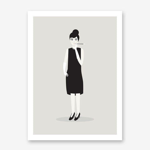 Celebrity illustration print with Audrey Hepburn stylishly drawn by Judy Kaufmann to bring out the essence of her style and character.