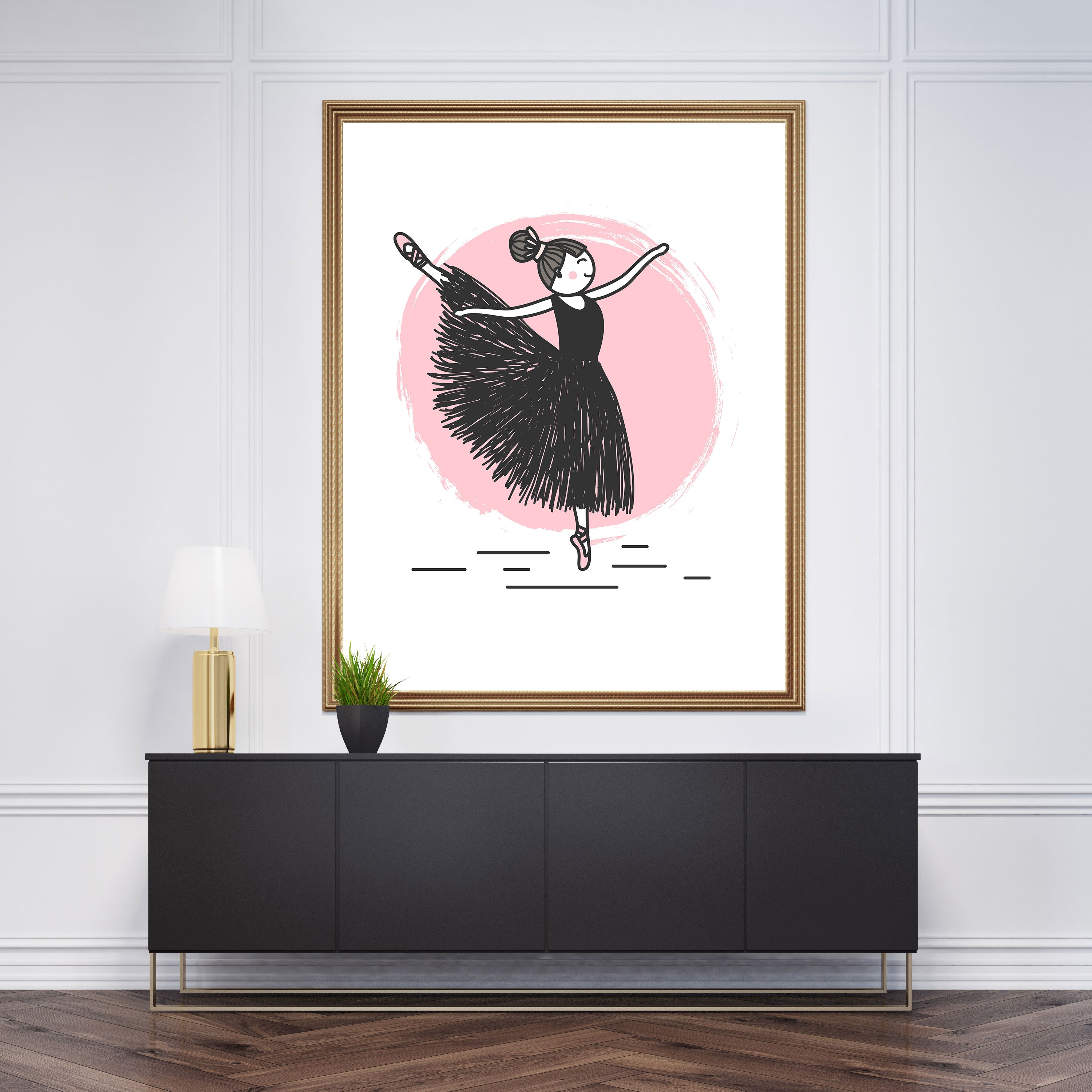 Cute drawing wall art with dancing ballerina sketch, on pink and white background