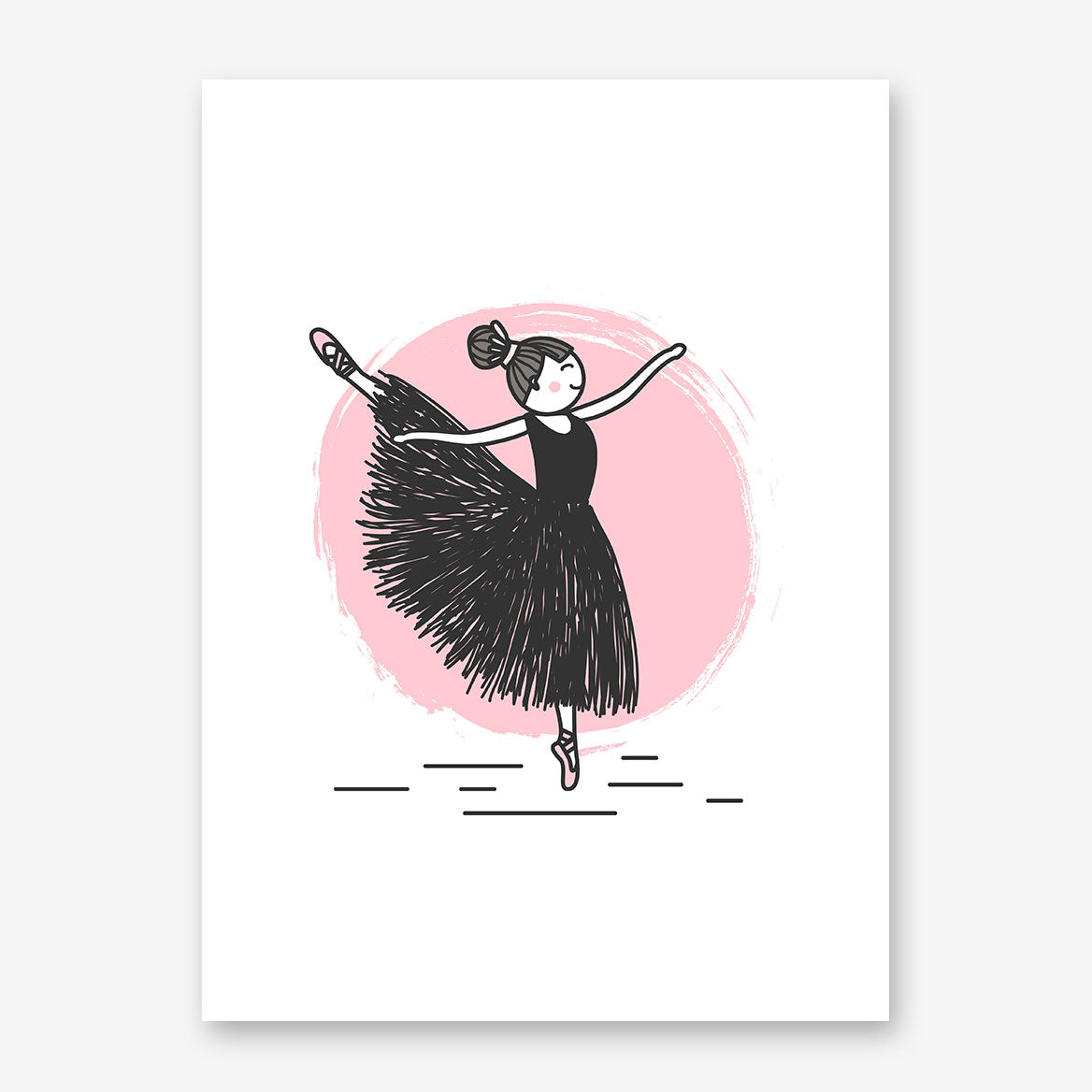 Cute drawing poster print with dancing ballerina sketch, on pink and white background