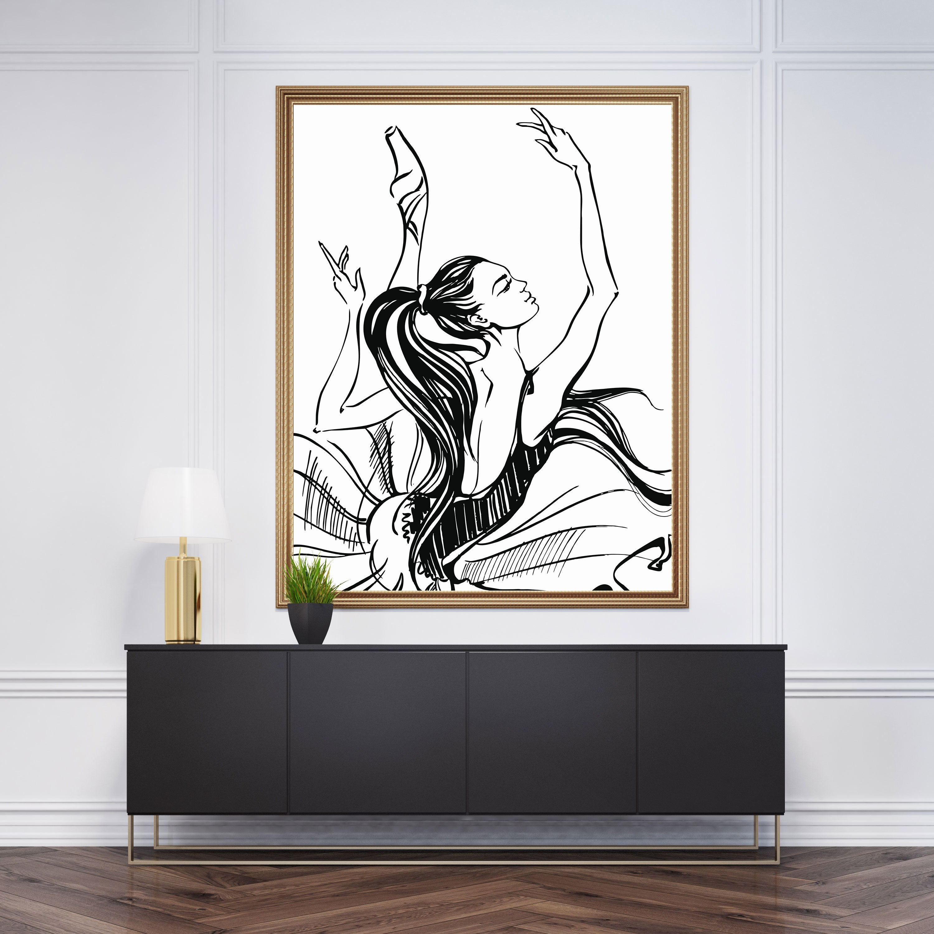 Glam drawing wall art with dancing ballerina sketch