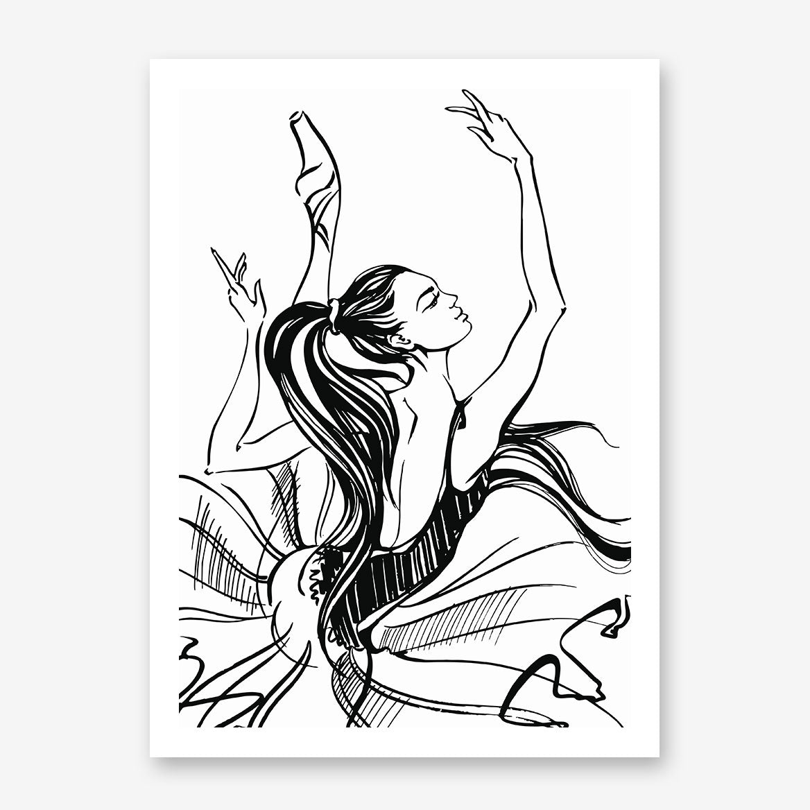 Glam drawing poster print with dancing ballerina sketch