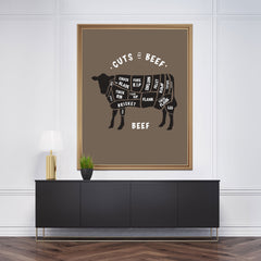 Kitchen poster print with meat cuts of beef text and image, on brown background, framed
