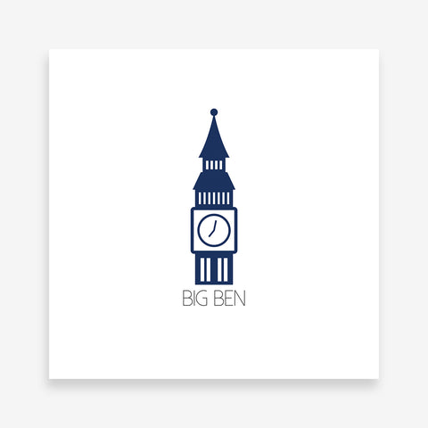 Modern poster print with blue Big Ben Tower and text.