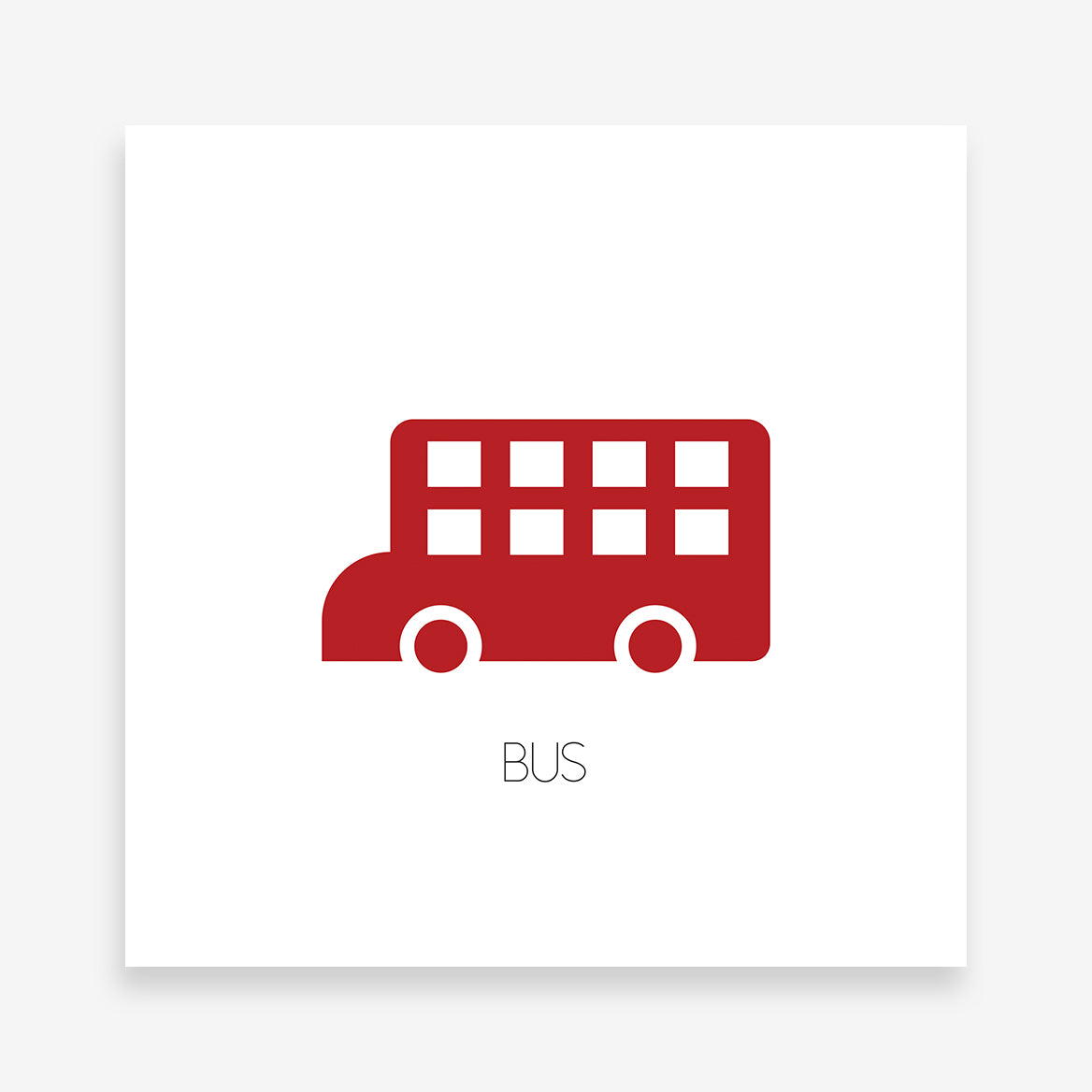Poster print with double deck red bus and text on white background.