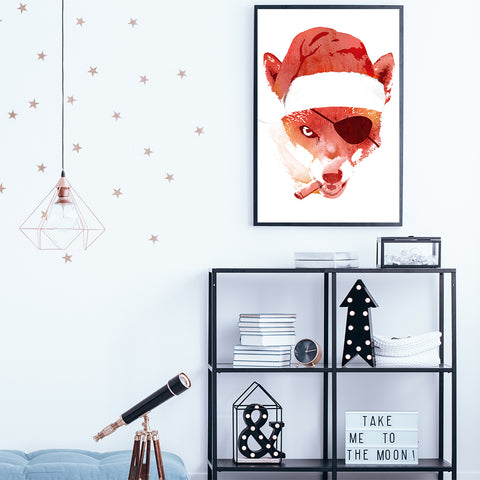 Illustration print by Robet Farkas, with a tough fox wearing a Santa hat, in teens room