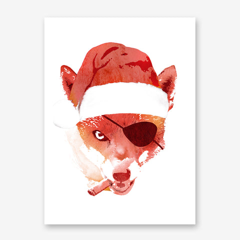 Illustration print by Robet Farkas, with a tough fox wearing a Santa hat.