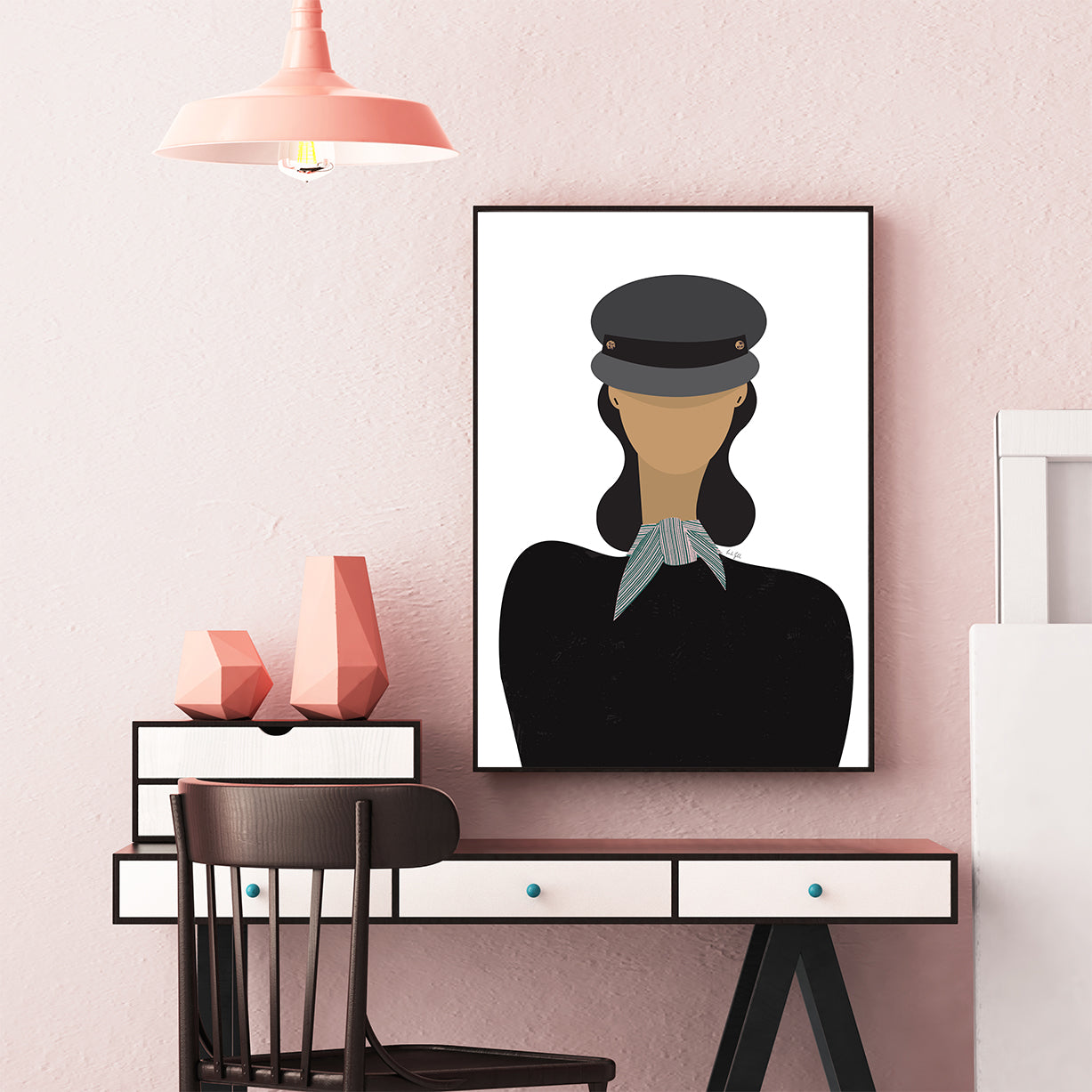 Fashion poster print by Linda Gobeta, with an abstract woman in black, wearing a baker boy hat, framed in office