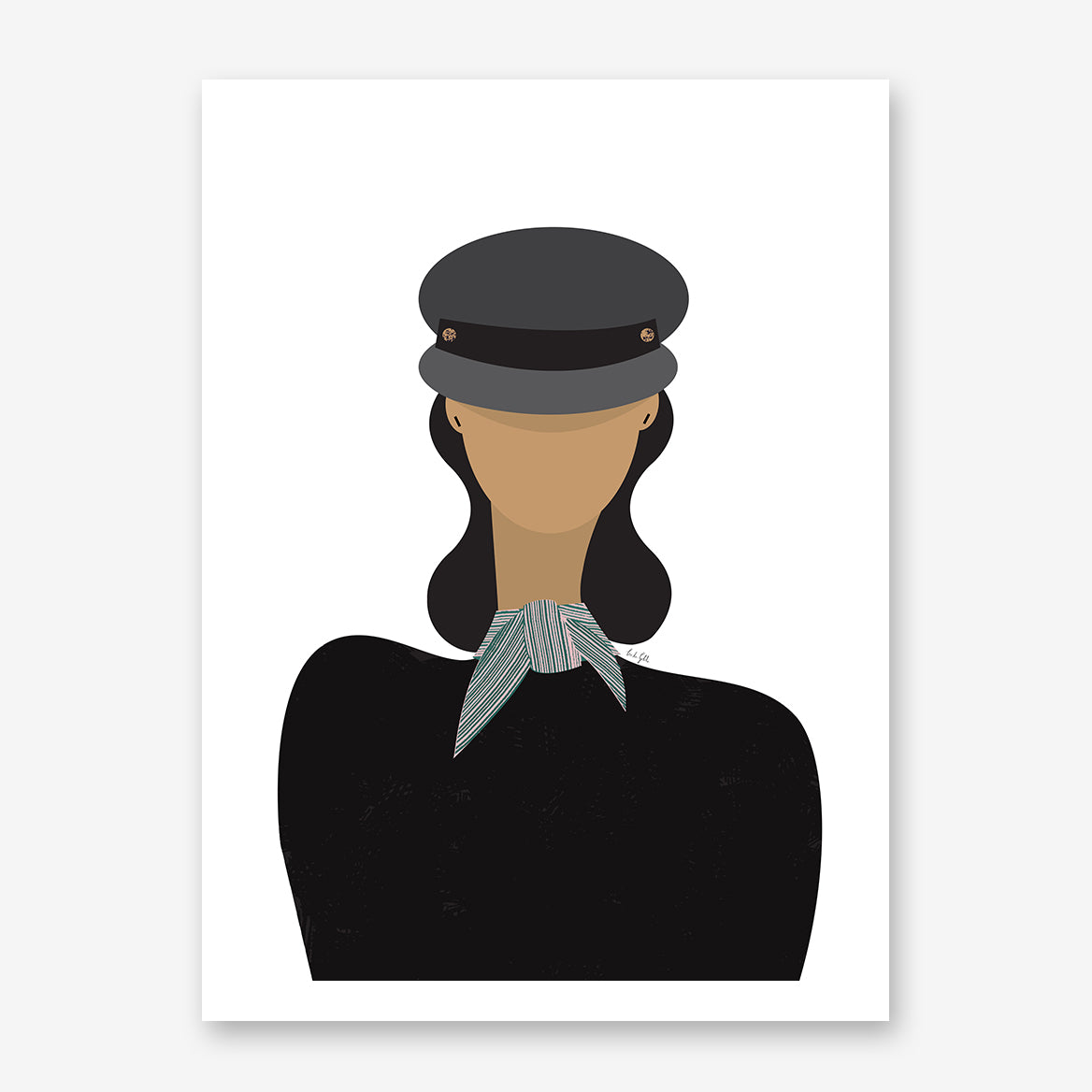 Fashion poster print by Linda Gobeta, with an abstract woman in black, wearing a baker boy hat