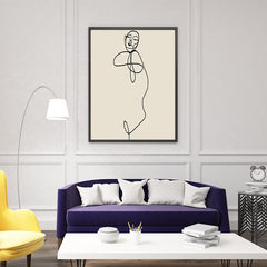 Abstract line art poster print by Sophia Novosel, with a woman, in black, framed in living room