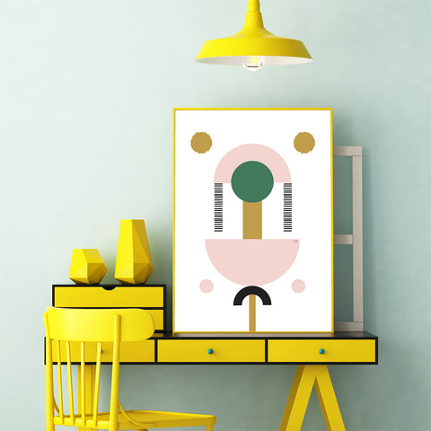 Geometrical poster print by Linda Gobeta, with colourful shapes, on white background, office view