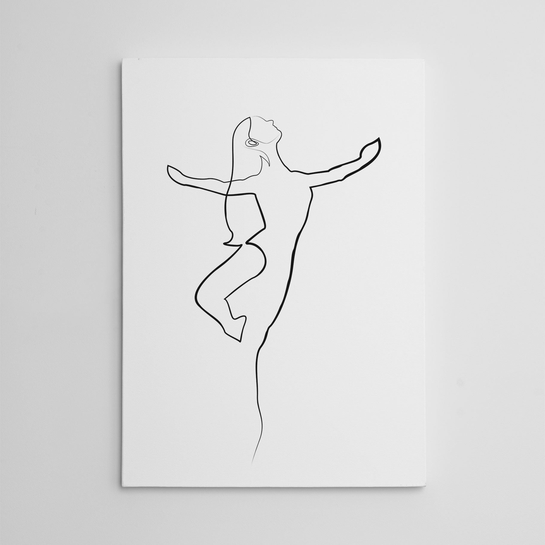 Beautiful line art canvas print with a gracious ballerina.