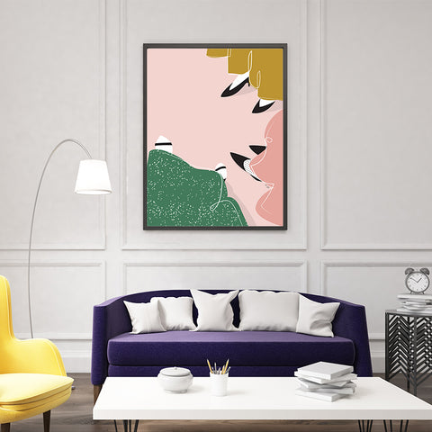 Illustration print by Linda Gobeta, with girls' pastel long dress and shoes view, on pink background, framed in living room view