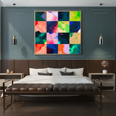 Square poster print with colourful abstract digital art collection, framed in bedroom