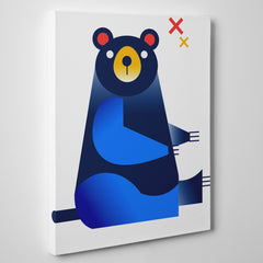 Nursery canvas print with a blue bear, on white background - side view