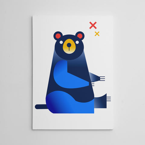 Nursery canvas print with a blue bear, on white background.