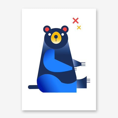 Nursery poster print with a blue bear, on white background.