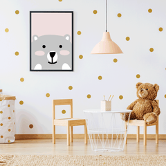 Nursery poster print with a smiley bear on pink background, room view