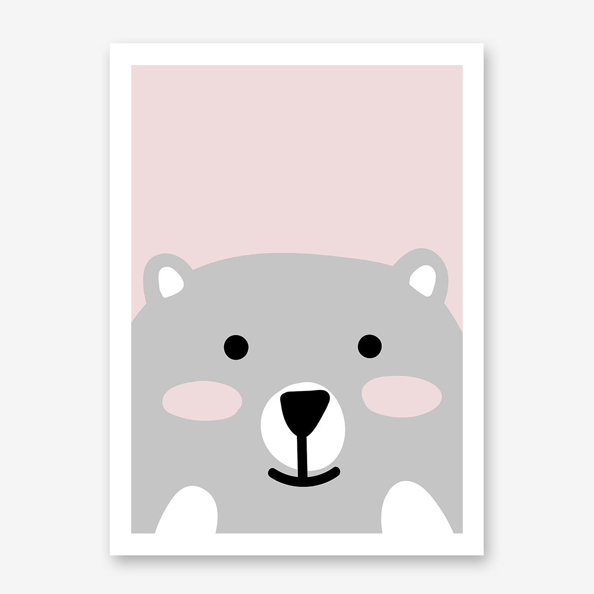 Nursery poster print with a smiley bear on pink background.
