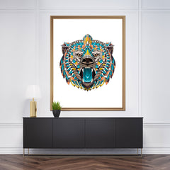 Patterned wall art print with a coloured bear's head on white background.